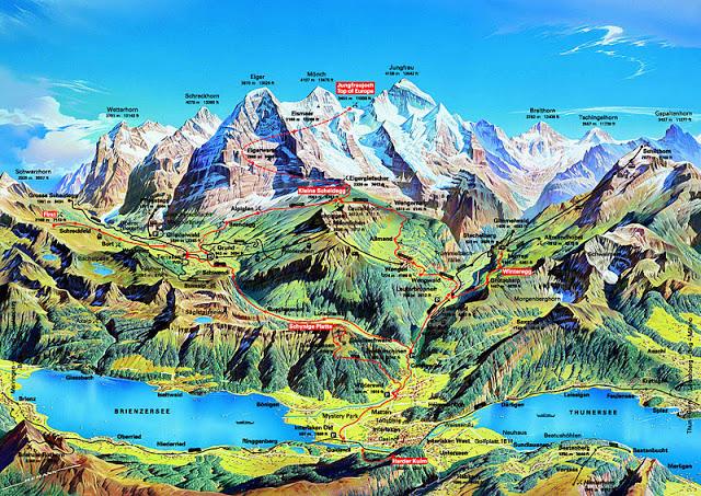Mapa de la región del Jungfrau